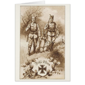 Vintage German Soldiers Easter Greeting Card