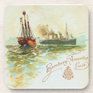 Vintage German Steamship Coaster Set