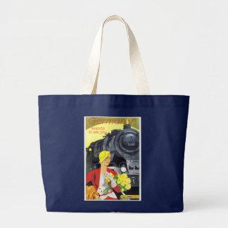 Vintage German Train Travel Ad Poster Large Tote Bag