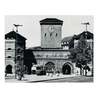Vintage Germany, Station and tram,  1950s Postcard