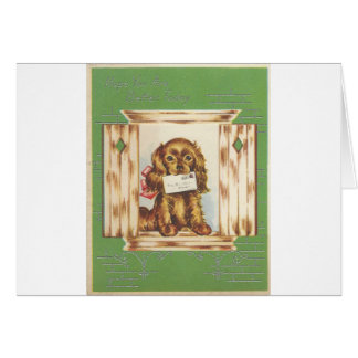 Vintage Get Well Dog With Letter Card