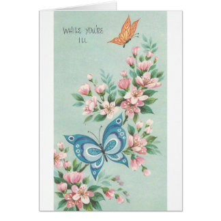 Vintage Get Well With Butterflies Card