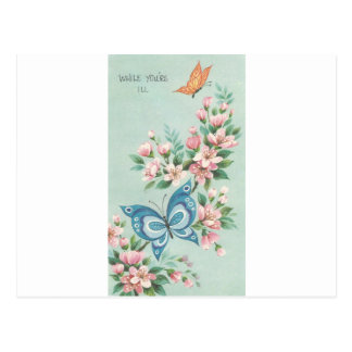 Vintage Get Well With Butterflies Postcard
