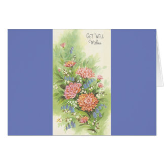 Vintage Get Well With Flowers Card
