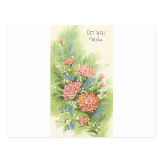 Vintage Get Well With Flowers Postcard