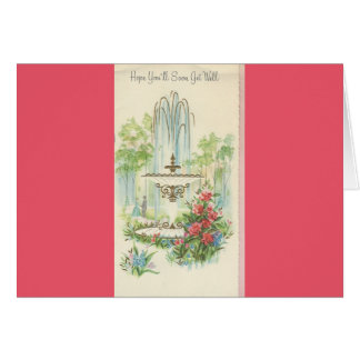 """Vintage """"Get Well"""" With Fountain Card"""