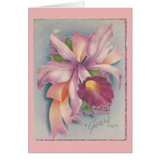 Vintage Get Well With Orchid Card