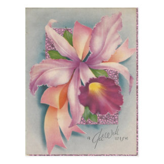 Vintage Get Well With Orchid Postcard