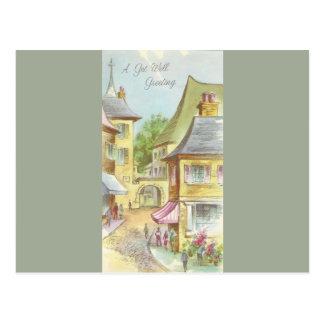 Vintage Get Well With Village Postcard