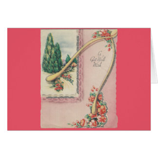 Vintage Get Well With Wishbone Card