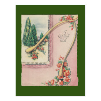 Vintage Get Well With Wishbone Postcard