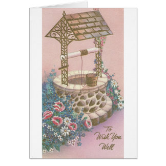 Vintage Get Well With Wishing Well Card