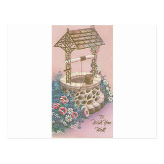 Vintage Get Well With Wishing Well Postcard