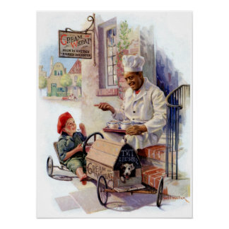 "VINTAGE ""GETTING UP STEAM"" CREAM OF WHEAT POSTER"