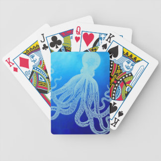 Vintage Giant Octopus in Deep Blue Ocean Bicycle Playing Cards