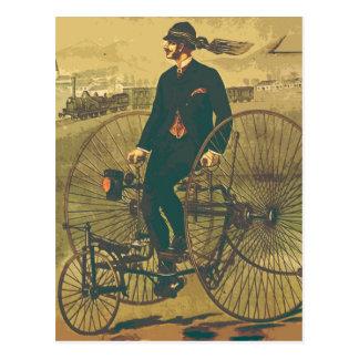 Vintage Giant Tricycle Gentleman Mustache Funny Postcard