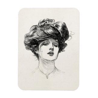 Vintage Gibson Girl Edwardian Retro Woman Portrait Magnet