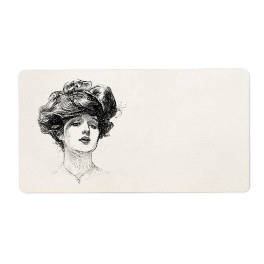Vintage Gibson Girl Edwardian Retro Woman Portrait Shipping Label
