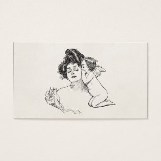 Vintage Gibson Girl Edwardian Woman Baby Cherub Business Card