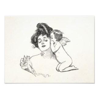 Vintage Gibson Girl Edwardian Woman Baby Cherub Photographic Print
