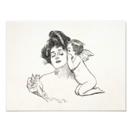 Vintage Gibson Girl Edwardian Woman Baby Cherub Photo