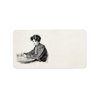 Vintage Gibson Girl Edwardian Woman Writing Letter Label