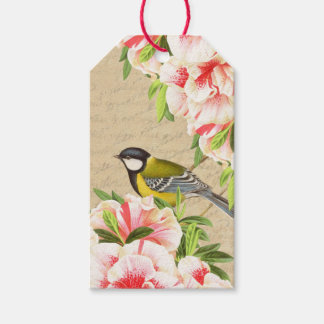 Vintage gift tags with bird and pink flowers pack of gift tags