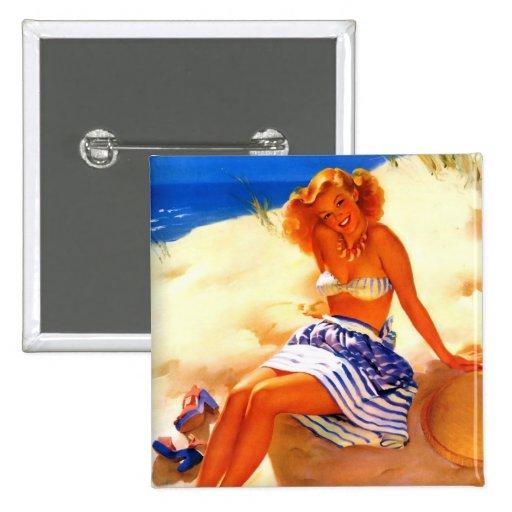 Vintage Gil Elvgren Beach Summer Pin up Girl