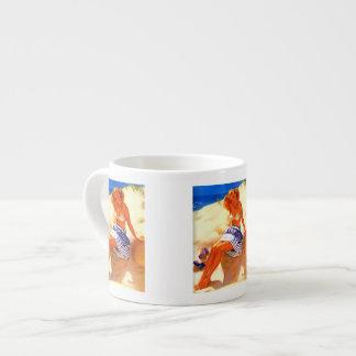 Vintage Gil Elvgren Beach Summer Pin up Girl Espresso Mug