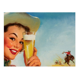 Vintage Gil Elvgren Beer Western Pin up Girl Postcard
