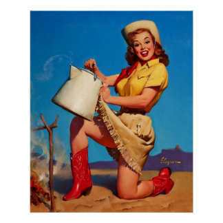 Vintage Gil Elvgren Campfire Pin UP Girl Poster