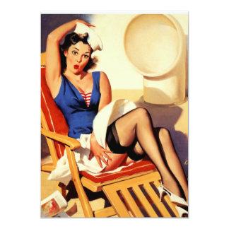 Vintage Gil Elvgren Cruise Ship Pinup Girl Card