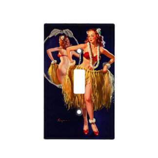 Vintage Gil Elvgren Hula Hawaiian Pin UP Girl Light Switch Cover