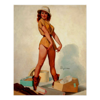 Vintage Gil Elvgren Hunter Pin up Girl Poster