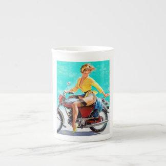 Vintage Gil Elvgren Motorcycle Rider Pin up Girl Bone China Mug