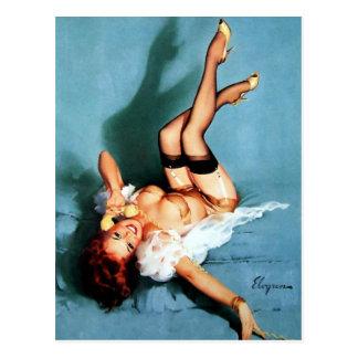 Vintage Gil Elvgren Pin UP Girl on The Phone Postcard