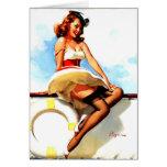 Vintage Gil Elvgren Sailor Nautical Pin up Girl Greeting Card