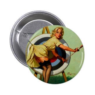 Vintage Gil Elvgren Target Archery Pinup Girl 2 Inch Round Button
