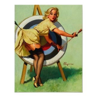 Vintage Gil Elvgren Target Archery Pinup Girl Card