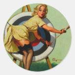 Vintage Gil Elvgren Target Archery Pinup Girl Sticker