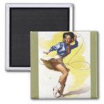 Vintage Gil Elvgren Western Cowgirl Pin UP Girl Square Magnet