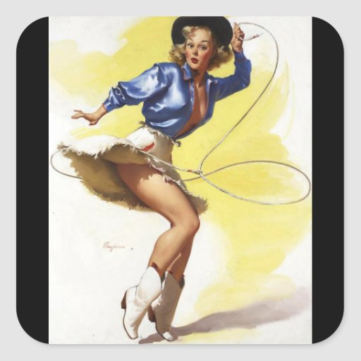 Vintage Gil Elvgren Western Cowgirl Pin UP Girl Square Sticker