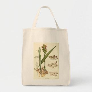 Vintage ginger illustration tote shopping bag