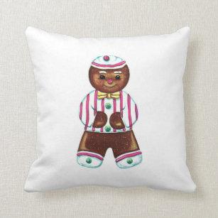 Vintage Gingerbread Man Throw Pillow