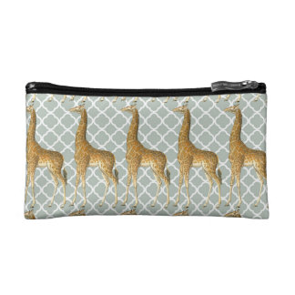 Vintage Giraffe on Grey Quatrefoil Makeup Bag