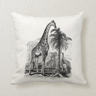 Vintage Giraffe Personalized Animal Illustration Throw Pillow