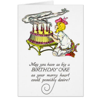 Vintage Girl and Birthday Cake Card