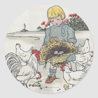 Vintage Girl And Chickens Pricing Stickers