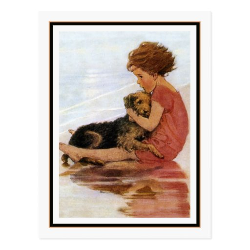 Vintage Girl and Dog by Jessie Willcox Smith Post Card