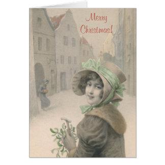 Vintage girl and mistletoe Christmas Card